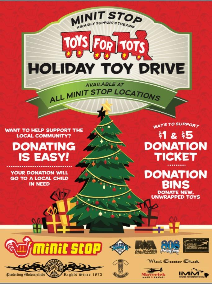 Toys for Tots Donations Minute Stop Hawaii
